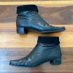 MINA MARTINI genuine leather Booties with folded suede cuff ⭐️SIZE 37